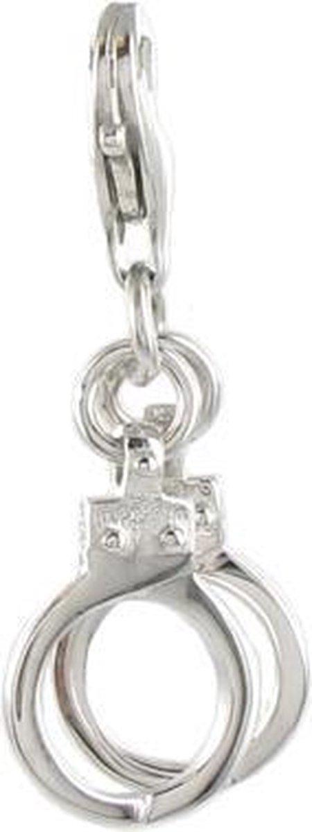 Quiges - Charm Bedel Hanger 3D Handboeien - 925 Zilver - HC107 - Quiges