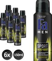 Fa Men Sport Double Power Boost Deodorant - 6 stuks - Voordeelverpakking
