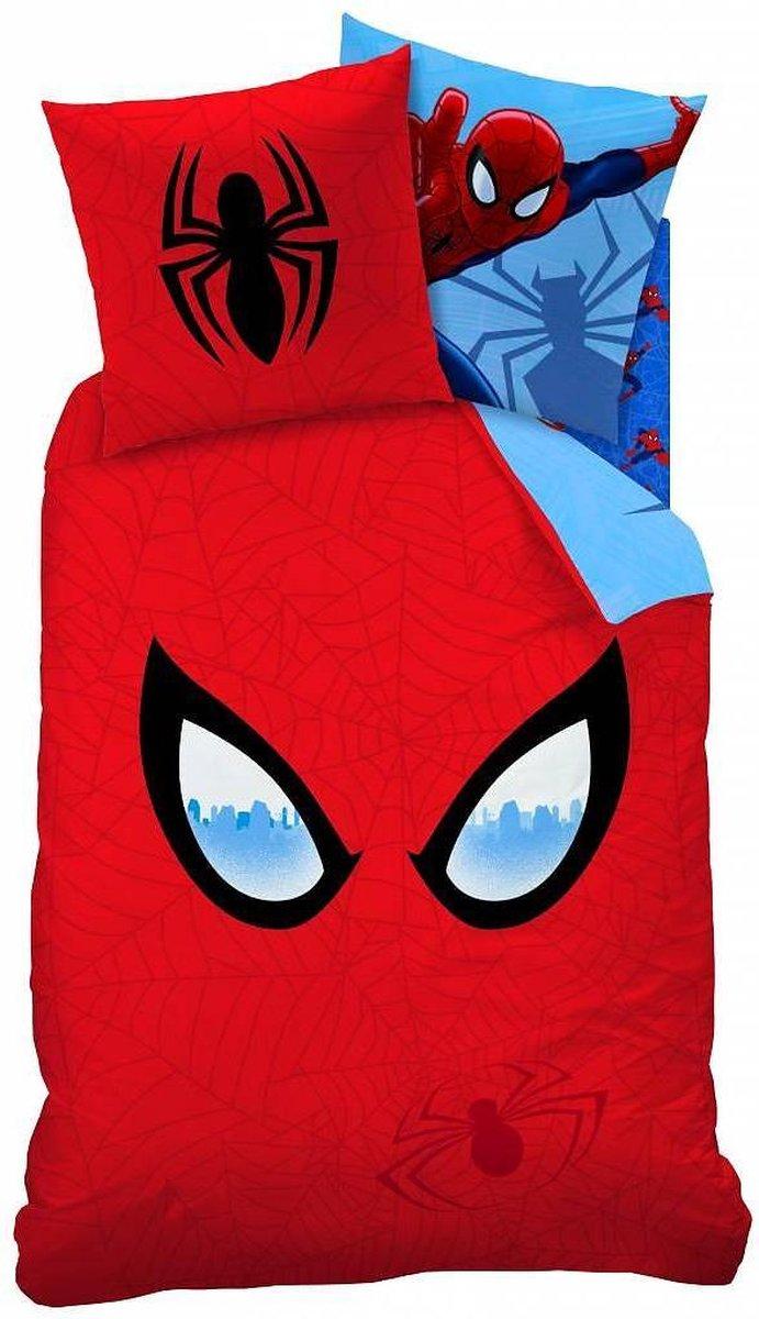 Spider-Man Mask - Dekbedovertrek - Eenpersoons - 140 x 200 cm - Blauw - Spider-Man