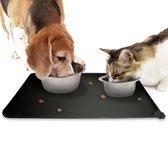 Winkrs - Placemat voor voerbak van hond of kat huisdieren - Zwart siliconen waterdicht