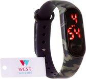 West Watch - LED kinderhorloge - model sun - 16 mm  - camouflage / leger kleur groen