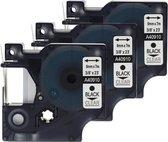 3x D1 standaard labels Dymo 40910 Zwart op transparant / 9mm x 7m / Compatibele met Dymo LabelManager 210D