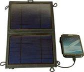 POWERplus Tiger Zonnecel Lader 5W  5V / 12V | Oplader voor mobiele telefoon | Uniek 12V en 5V USB uitgang | 12V druppellader en USB lader op zonne-energie