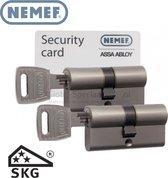 Nemef Veiligheidscilinder Dubbel 132/9 - 2 stuks gelijksluitend incl. 6 sleutels - SKG***