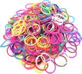 600 Loom elastiekjes, loombandjes in multi kleur met weefhaak en S-clips