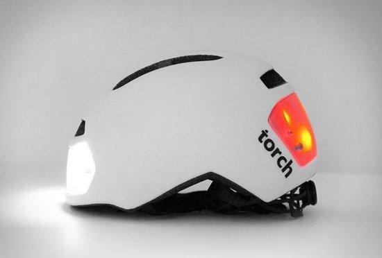Torch T2 Wit - Fietshelm met ingebouwd voor- en achterlicht