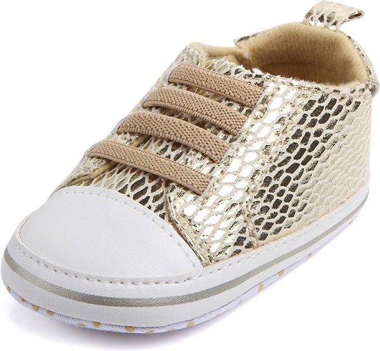 Gouden sneakers - Kunstleer - Maat 18 - Zachte zool - 0 tot 6 maanden