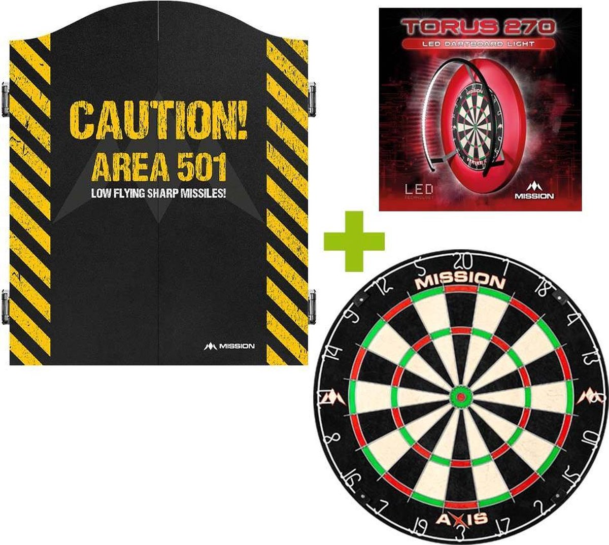 Mission Deluxe Caution 501 Dartkabinet + Mission Axis +