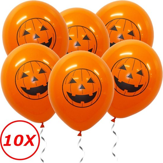 Halloween Versiering Decoratie Helium Ballonnen Feest Versiering Halloween Accessoires Ballon Oranje Pompoen – 10 Stuks