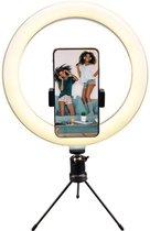 Qware® Ringlamp - Ringlamp met statief - geschikt voor Youtube, Instagram en Tiktok lamp - Led Ringlamp - Smartphone - Qware Ringlamp - 25 cm - 3 kleuren Licht