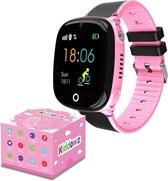 KIDDOWZ Smartwatch Kinderen – GPS Horloge voor Kids – Met Tracker Kind – Kinderhorloge – jongen / meisje – Waterbestendig - HD Camera – Inclusief Simkaart – Roze