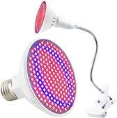 ProLED - LED Groeilamp - 200 LEDs (Rood + Blauw) - Bloeilamp met houder - Flexibele houder - E27 fitting - Kweeklamp - Met klemhouder - Bevordert het groeiproces van (jonge) plantjes - Groeilamp klem - Kweektunnel - Kweekbak