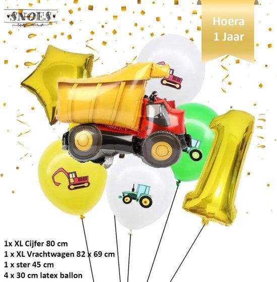 Verjaardag Jongen Vrachtwagen - Kiepwagen - Ballonnen Set * Cijfer 1 * Nummer 1 * Hoera 1 jaar * Snoes * Verjaardag * Kinderfeest * Verjaardag Versiering * Thema Vrachtwagen - Kiepwagen - Voertuig * Snoes * Eerste Verjaardag * Verjaardagsballonnen