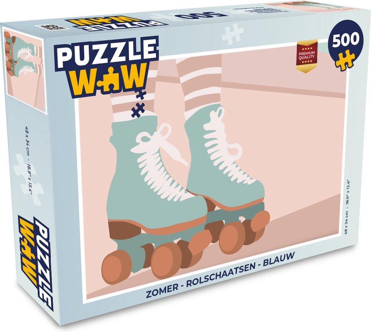 Puzzel Zomer - Rolschaatsen - Blauw - Legpuzzel - Puzzel 500 stukjes