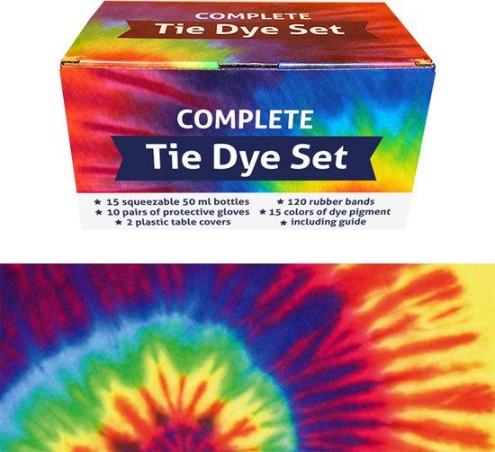 Afbeelding van QBIX Tie Dye Kit - Set van 15 kleuren - Complete textielverf tie dye kit met elastiek en knijpflesjes speelgoed