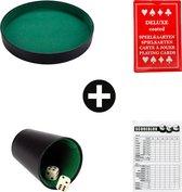 Yahtzee + Dobbelsteenbak + kaartenset - Dobbelset - Dobbelbak - Pokerpiste - Pitjesbak - Dobbelspel/Gezelschapsspel voor Kinderen/Volwassenen - Dobbelstenen - Spel - Kunstleer