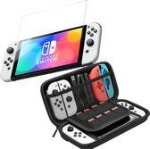 Nintendo Switch OLED Case - Nintedo Switch OLED Accessoires Zwart Hoesje - Nintendo Switch OLED Screenprotector