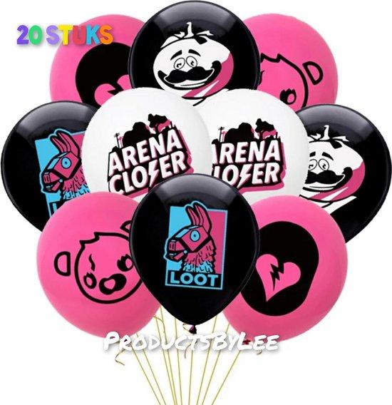 Fortnite-Latex-Ballon-Black-White-Pink-20 stuks-