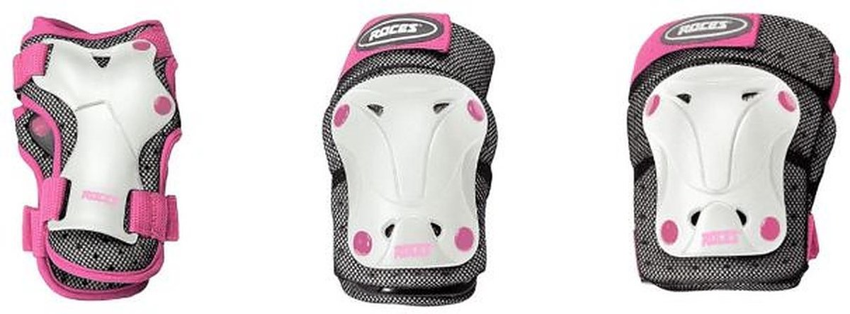Roces - Skate beschermset - 3-Delige - Junior - Roze/Wit - Maat M - Ventilated - Skate beschermset voor kinderen