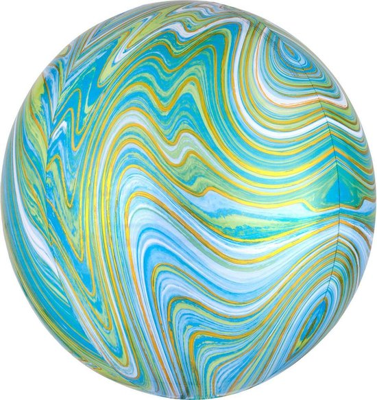 Folieballon Orb Marmer Groen - 38 centimeter