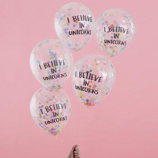 Ballonnen Confetti 'I Believe In Unicorns' - 5 stuks