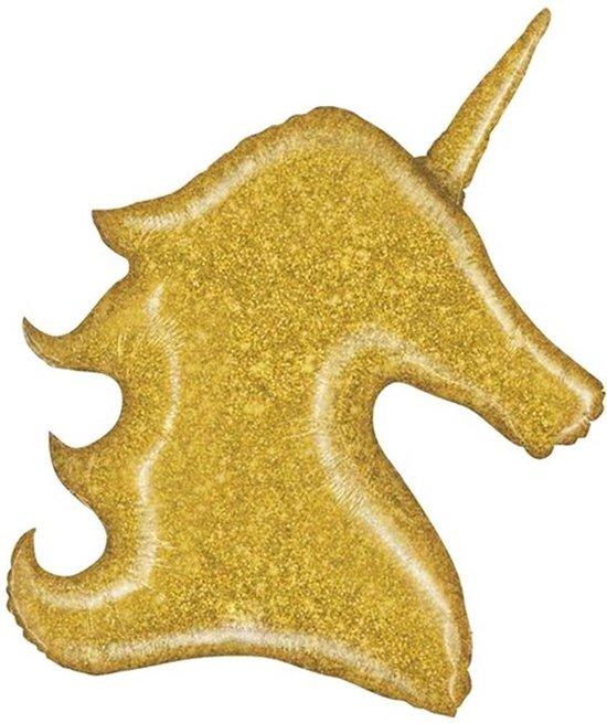 Folie Ballon Unicorn Goud Glitter - 100 Centimeter