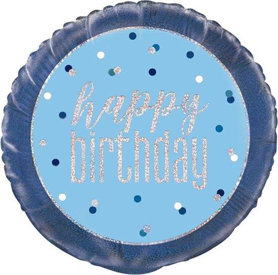 Folie ballon Happy Birthday Blauw Iridescent - 45 centimeter