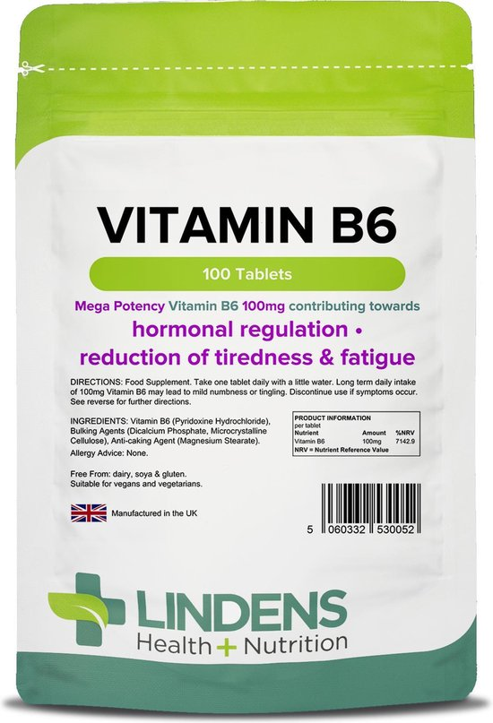 Lindens - Vitamine B6 Pyridoxine 100 mg - 100 tabletten