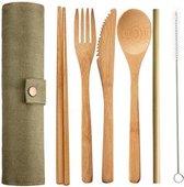 Bamboe meeneem bestek in etui - vork, lepel, mes, eetstokjes en rietje