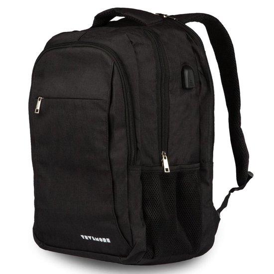 TravelMore XL Rugzak met 15.6 Inch Laptop Vak - 33 L Rugtas voor Mannen/Vrouwen - Spatwaterdicht Anti-diefstal Backpack - Tas voor School/Werk/Reizen - Met USB - Zwart