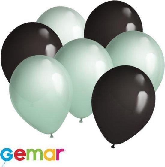 30 ballonnen Mintgroen en Zwart (Ook geschikt voor Helium)