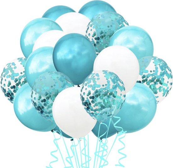 Luxe Ballonnen Turquoise Wit Blauw/Groen Confetti - 20 Stuks – Confetti Ballonnen- Helium Ballonnen - Babyshower Verjaardag Party Decoratie Thema Feest Kinder Feestje