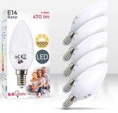 B.K.Licht - LED Lichtbron - set van 5 - met E14 - 5W LED - 3.000K warm wit licht - lampjes  - LED lampen -  gloeilampen - reflectorlamp