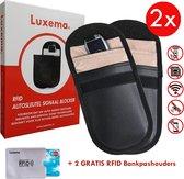 Luxema - 2 x Autosleutel Anti Diefstal RFID beschermhoezen - Voor auto's met Keyless Go en Keyless Entry - Signaal Blokkerende Beschermhoes - Draadloze autosleutels - Beschermhoesjes Autosleutel - Auto Sleutel Etui - + 2 Gratis RFID Bankpashouders