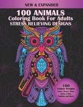 100 Animals Coloring Book For Adults Stress Relieving Designs