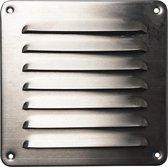 IVC Air ventilatie schoepen rooster | 15.5 x 15.5 cm | RVS Inox | geborsteld RVS | met horrengaas | luchtdoorlaat 40 cm²
