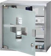 Medicijnkastje - RVS - slot - 2 sleutels - transparante deur - 30 x 30 x 12 cm