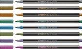 STABILO Pen 68 - Premium Metallic Viltstift - Etui Met 8 Kleuren