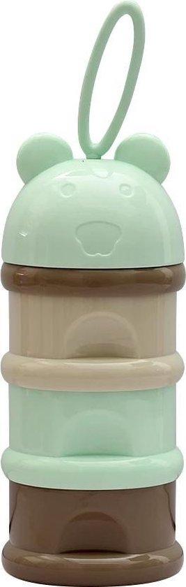 Melkpoeder toren - Fruittoren - Melkpoedertoren - Babyvoeding - Melkpoeder doseerdoos - bewaarbakjes - Dispenser - Jongen / Meisje - Groen / bruin 3 delig