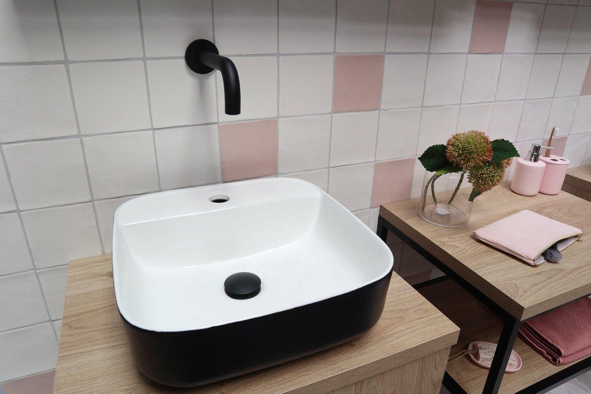 Waskom Opbouw Lorens Vierkant Wit -Mat Zwart 39x39x14cm