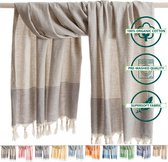 ANATURES Hamamdoek XL TRAVELER 95x175 cm   Hamam strandlaken, Badlaken, Sauna handdoek, Fouta pareo, Yoga handdoek   Fair Trade – Biologische katoen   Grijs