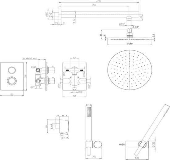 Van Heck Country Doucheset Thermostatisch Inbouw Met 25 cm Hoofddouche en losse handdouche Zwart