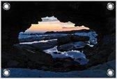 Tuinposter –Grot met Zonsondergang– 90x60 Foto op Tuinposter (wanddecoratie voor buiten en binnen)