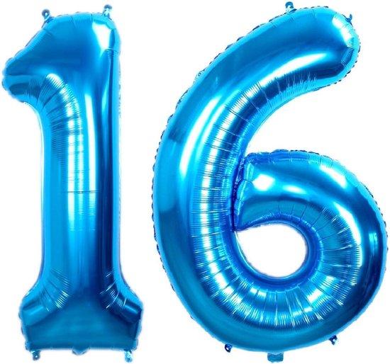 Folie Ballon Cijfer 16 Jaar Blauw 70Cm Verjaardag Folieballon Met Rietje