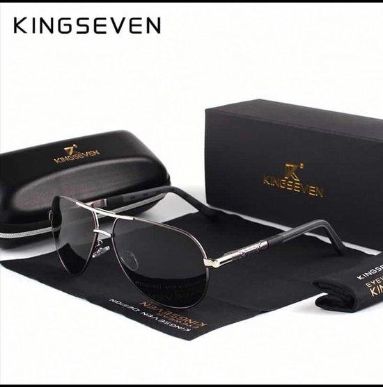 Kingseven Zwart Grijs -Gepolariseerd - Zonnebril Heren - Sunglasses - Zomertrend