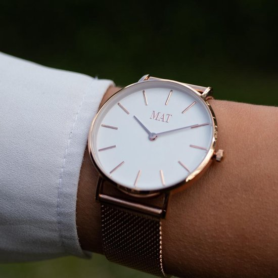 MAT Accessoires – Rosé Gouden dames horloge – Mesh bandje – 36 mm – Incl. luxe horlogedoos