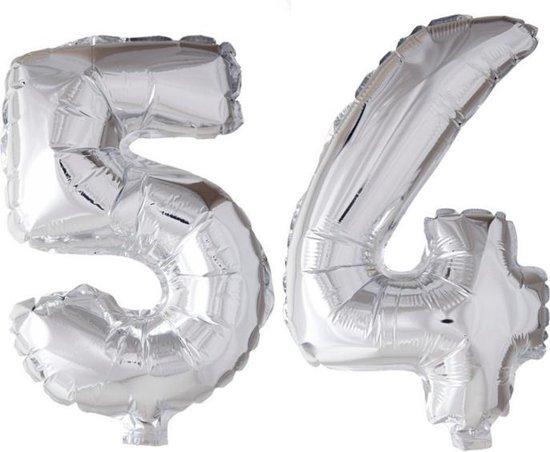 Folieballon 54 jaar zilver 86cm