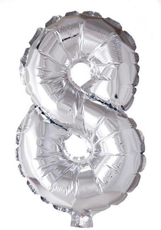 Folieballon 8 jaar zilver 86cm