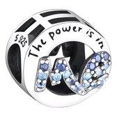 Zilveren bedel Geloof en Geluk |  Bedel The Power is in Me | Met zirkonia | 925 Sterling Zilver | Bedels Charms Beads | Past altijd op je Pandora armband | direct snel leverbaar | Miss Charming