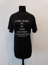 T-shirt, 2 Corinthians 5:7, zwart, maat XL